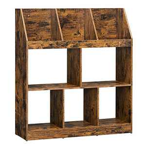 VASAGLE Bookshelf, Bookcase with Cubbyholes and Book Organizers, for Study, Living Room, Bedroom, Rustic Brown ULBC056X01