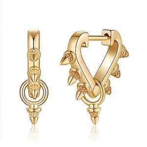 Spike Huggie Hoop Earrings For Women, S925 Sterling Silver Post 14k Gold Plated Earrings Small Dangle Hoop Earrings Hypoallergenic Elephant Horse Star Heart Evil Eye Huggie Earrings for Women