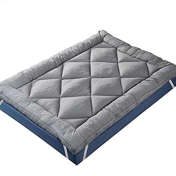 IMISSYOU Mattress Topper 3 Inch Thick, Microfiber Mattress Topper, Hotel Quality Bed Topper King Size (150x200cm), Supersoft & Overfilled, Grey Cover, Machine Washable,3-Year Warranty