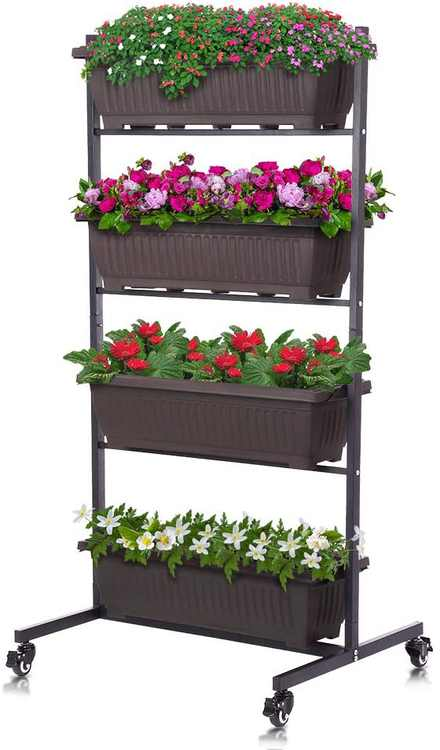 Vertical Garden Planter, Raised Garden Bed Freestanding Elevated Planter with 4 Container Boxes, Good for Patio Balcony Indoor and Outdoor (SCZT)