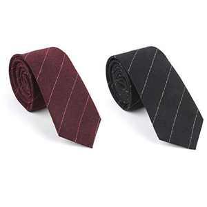 Houlife Men's Cotton Solid Stripe Skinny Tie Slim Necktie For Wedding Party (Mix 10)