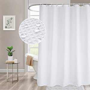 Beneyhome Solid White Shower Curtain, Stall Waffle Shower Curtain Liner Heavy Duty Fabric Shower Curtain for Bathroom, Hotel Quality, Water Resistant & Machine Washable, 54 x 72 Inches