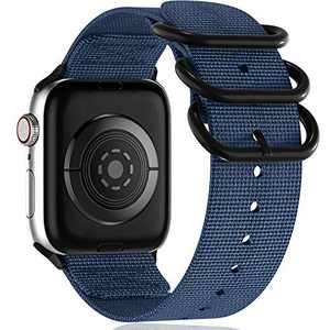 Muranne Compatible with Apple Watch Band 38mm 40mm, Stylish Adjustable Lightweight Breathable Replacement Bands with Military Style Steel Clasp for iWatch SE Series 6 5 4 3 2 1, Navy Blue, Medium