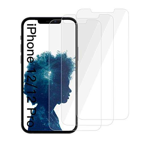 """[3 Pack] Screen Protector Compatible with iPhone 12/12 Pro 5G, HD Clear, Case Friendly, Anti-Scratch, 9H Hardness Premium Tempered Glass Film Compatible with iPhone 12/12 Pro 6.1"""""""