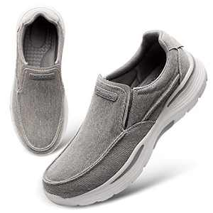 FEETCITY Men's Walking Sneakers Slip-On Loafer Casual Driving Shoes Breathable Jungle Moc Slip-On Shoe Size 6 Grey