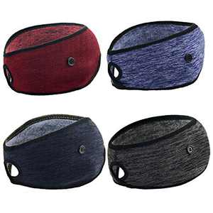 Yuhan Pretty 4 Pieces Ponytail Winter Headbands for Womens Ear Warmer Muff Yoga Running Headband for Women Girls Outdoor Sports(Button Black+Grey+WineRed+Navy)