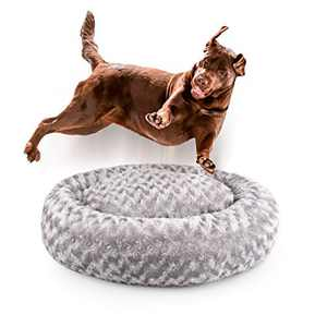 Dog Beds for Medium Dogs Calming Pet Bed for Small Dogs Bed Furniture Donut Round Anti Anxiety Dog Bed Doggy Bed Fluffy Fuzzy Cat Bed Cuddler Camas para Perros Gray 32 Inch