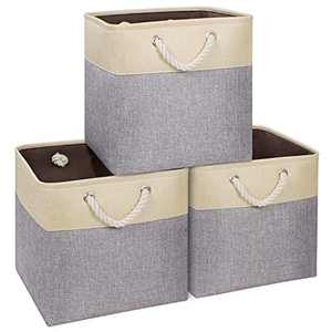 Syeeiex Large Storage Cube 13''x13'',Durable Storage Basket for Cube Organizer,Decorative Foldable Storage Bins for Shelf with Sturdy Cotton Carry Handles for Cubes,Cabinet,Beige & Grey Set of 3