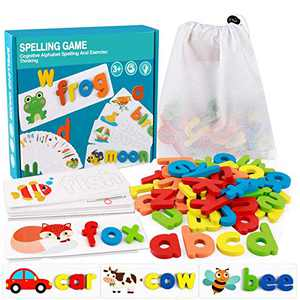 XWFXZRO See and Spell Learning Toys,Matching Letter Game Words for Kids ,Educational Learning Toys for Preschool Kindergarten 2-6 Year Old Girls Boys (28 Cards+52 Letters)