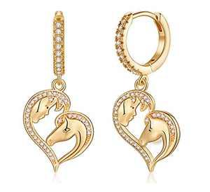 Horse Huggie Hoop Earrings for Women, S925 Sterling Silver Post 14k Gold Plated Earrings Small Dangle Hoop Earrings Hypoallergenic Elephant Horse Star Heart Evil Eye Huggie Earrings for Women