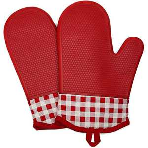 BaiYunPOY Professional Silicone Oven Mitts - with Cotton Liner, 500 Degrees Heat Resistant Pot Holders, Flexible Oven Gloves 1 Pair 11 Inch Red