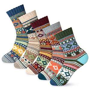 Women Winter Socks 5 Pairs Cotton Thick Knit Vintage Soft Cozy Casual Crew Socks (Multicolor09)