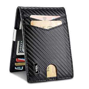 WXM Money Clip Wallet- Mens Wallets slim Front Pocket RFID Blocking Card Holder Minimalist Mini Bifold Gift Box (Carbon Fiber)