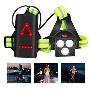 Aceshop Running Light Lamp USB Rechargeable LED Chest Light Waterproof Backlight Flashlight 3 Lighting Modes with Taillight and Adjustable Strap for Runners, Joggers, Walking, Hiking, Camping, Fishing