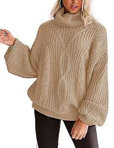 YUOIOYU Women's Long Sleeve Turtleneck Sweater Chunky Cable Knit Oversized Pullover Jumper Tops Camel