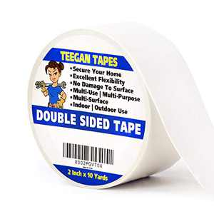 Teegan Tapes Double Sided Carpet Tape for Area Rugs, Carpet Adhesive Rug Gripper Removable Multi-Purpose Rug Tape Cloth for Hardwood Floors, Outdoor Rugs, Carpets Heavy Duty Sticky Tape, 2 In x 10 Yds