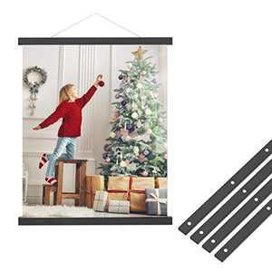 NIUBEE Magnetic Poster Hanger Frame,16 in Black Acrylic Hanging Poster Frame Print Hanger Kit for Walls Map Canvas Artwork