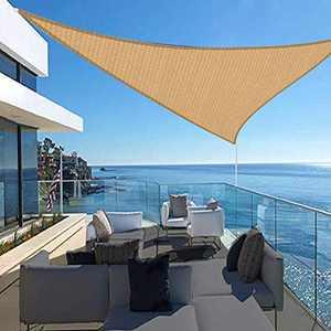 FAB BASED 16'x16'x16' Sun Shade Sail,Outdoor Uv Block Canopy Shade, Sun Sail Cover Triangle Canopy-Sand