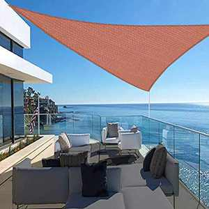 FAB BASED 12'x12'x17' Sun Shade Sail,Outdoor Uv Block Canopy Shade, Sun Sail Cover Triangle Canopy-Terra