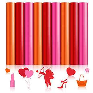 9 Sheets Valentine's Day Iron on Vinyl Heat Transfer Vinyl 11.4 x 8.3 Inches HTV Vinyl Sheet for Valentine's Day DIY T-Shirts, Pillow and Other Textiles