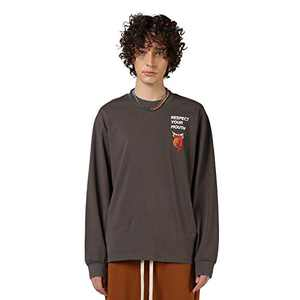 RESPECT MY WAY Men's Long Sleeve T-Shirt with Design Crewneck Lightweight Graphic Tees (Gray,L)