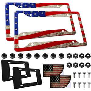 6 Pieces American Flag License Plate Cover Frame Set Includes American Flag License Plate Cover Frames with American Flag Car Stickers and Anti-Rattle Foam Pads for Cars Trucks Decor