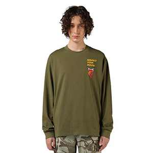 RESPECT MY WAY Men's Long Sleeve T-Shirt with Design Crewneck Lightweight Graphic Tees (Brown Green,M)