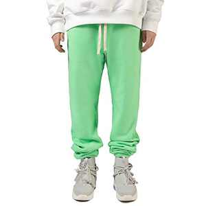 Mens Sweatpants Joggers Stylish with Pockets and Elastic Bottom(Grass Green,L)