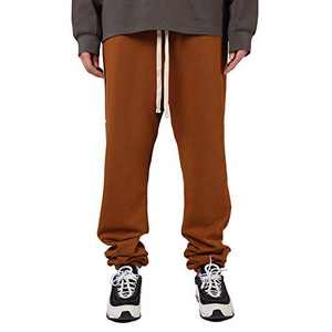 Mens Sweatpants Joggers Stylish with Pockets and Elastic Bottom(Brown,L)