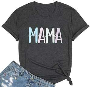 Women Mama Letter Print T Shirt Cute Mama Graphic Shirts Casual Top for Mom Dark Grey