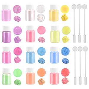 DROLE 12 Colors Epoxy Resin Pigment Pearl Powder with 30Pcs Mixing Stir Sticks Dye for Resin Slime Soap Making Nail Candle Making Art Paint DIY Crafts Total 42Pcs