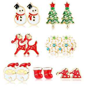 Sllaiss 7 Pairs Christmas Stud Earrings Set Stainless Steel Snowman Snowflake Elk Earrings for Women Santa Claus Sock Christmas Tree Earrings Xmas Jewelry Gift (Silver Tone)