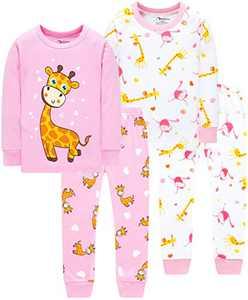 Girls Giraffe Pajamas Christmas Kids Cotton Jammies Children Pants Set Size 4