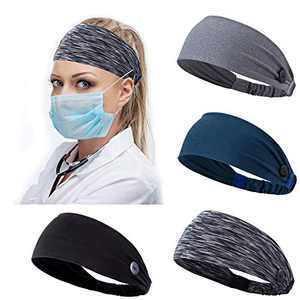 Headband with Buttons for Face Mask Holder Ear Protection Hair Covers for Nurses Doctors Elastic Headbands Sets Non Slip Ear Savers for Masks