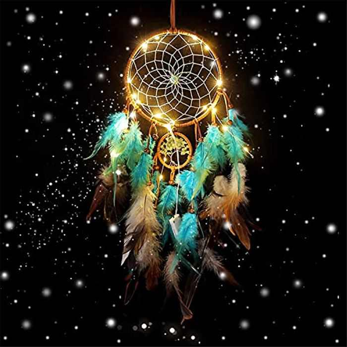 Kxin LED Dream Catcher,Sweet Dream Catchers as GIfts, Wall Hanging Ornaments Crafts,Bedroom Decorations For Girls/Boys/Friends/Kids (Teal)