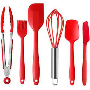 SELCOUTH Kids- & Beginner Bakers- Friendly Silicone Spatula Scraper Set with Kitchen Tongs, Whisk & Pastry Brush, 480ºF High Heat Resistant, No Odor No Fade, Nonstick One-Piece Design Easy Clean, Red