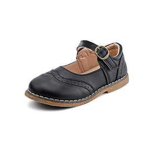 JABASIC Girls School Uniform Shoes Mary Jane Dress Flats Shoes (11,Black)