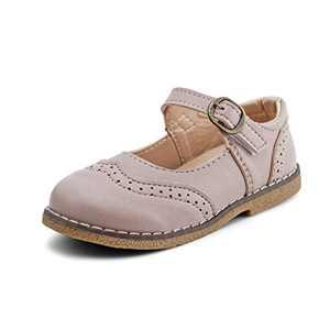 JABASIC Girls School Uniform Shoes Mary Jane Dress Flats Shoes (9.5,Light Pink)