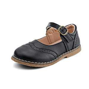 JABASIC Girls School Uniform Shoes Mary Jane Dress Flats Shoes (10.5,Black)