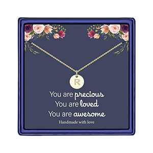 Gold Disc Initial Necklaces, 14K Gold Filled Handmade Personalized Letter Disc Necklace Double Side Engraved Initial Necklace for Women Kids Child Necklace Jewelry Gifts Pendant R