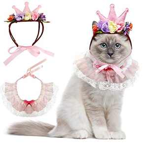 Cat Bandana for Cats, Princess Cat Costumes for Cats, Cute Lace Dog Bandanas and Cat Crown Accessories for Cats Small Dogs, Pink Outfit for Birthday Party