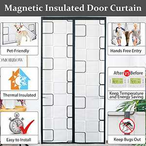 Magnetic Insulated Door Curtain[Upgraded Version] with 36 Magnets Sewn-in,Self-Closing Privacy Door Screen,Thermal Doorway Cover to Keep Cool in Summer,Block Draft Out in Winter,Kid&Pet Friendly,Grey