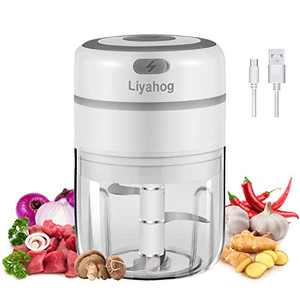 Liyahog Electric Mini Garlic Chopper, Wireless Food Slicer and Processor, Portable Mini Food Blender with 3-blade for Garlic/Chili/Vegetables/Onions/Nuts/Pepper/Ginger (250ML)