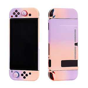 Arttodo Protective Case Compatible with Nintendo Switch, Hard Shell Cover Case for Switch Console and Joy-Con, with Screen Protector and Thumb Grip Caps, Game Case for Girls (Pink & Purple)