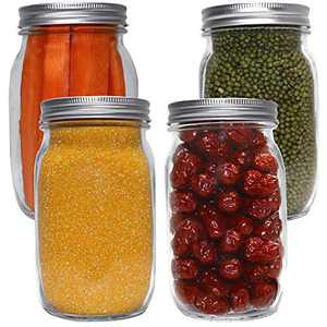 EAXCK 32 oz Mason Jars with Lids and Bands 4 PACK, Wide Mouth Canning Jars Ideal for Food Storage, Canning,Drinking, Fruit & Vegetable Slices, 6 Labels and One Pen Included