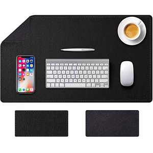 """Desk Pad, Office Desk Mat, Mouse Pad Large, 31.5""""x15.7"""" PU Leather Desk Blotter, Waterproof Writing Mat for Office/Home Black Dual-Sided"""
