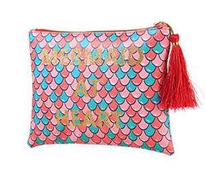 WOOMADA Makeup Bag for Women Waterproof Portable Travel Cosmetic Bags Mermaid Gifts for Girls (MERMADIN AT HEART(clutch)