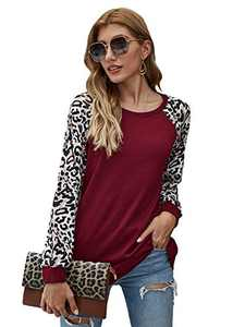 Romwe Women's Long Sleeve Round Neck Leopard Colorblock Causal Cotton Pullover Blouse Burgundy Small