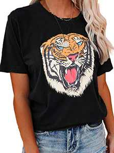 LilyCoco Women's Tiger Graphic Tee Round Neck T-Shirt Short Sleeve Casual Funny Tops Black M