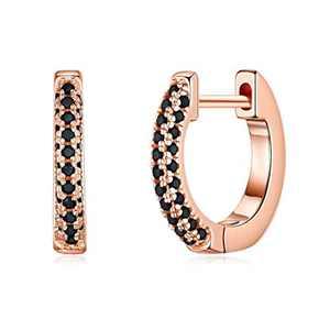 Small Huggie Hoop Earrings for Women, 925 Sterling Silver Post Rose Gold Cubic Zirconia Dainty Tiny Black Huggie Hoop Cartilage Earrings Hypoallergenic Earrings for Women Girls Kids Jewelry Gifts